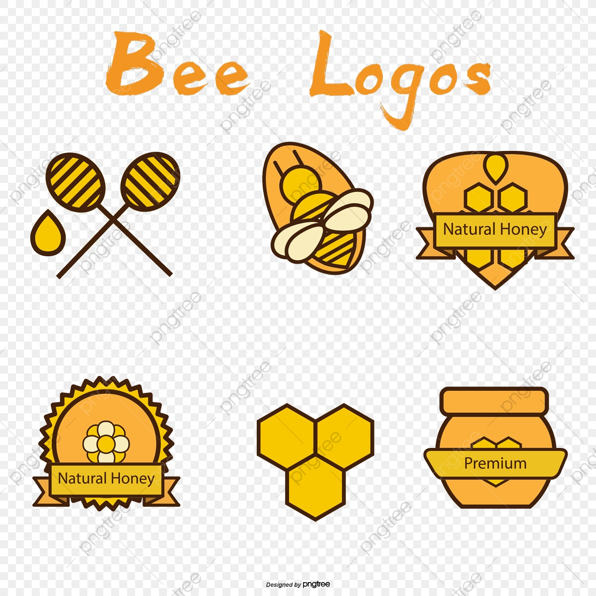 6 Elements In Honey Logo Vector Material, Logo Clipart, Honey, Bee.