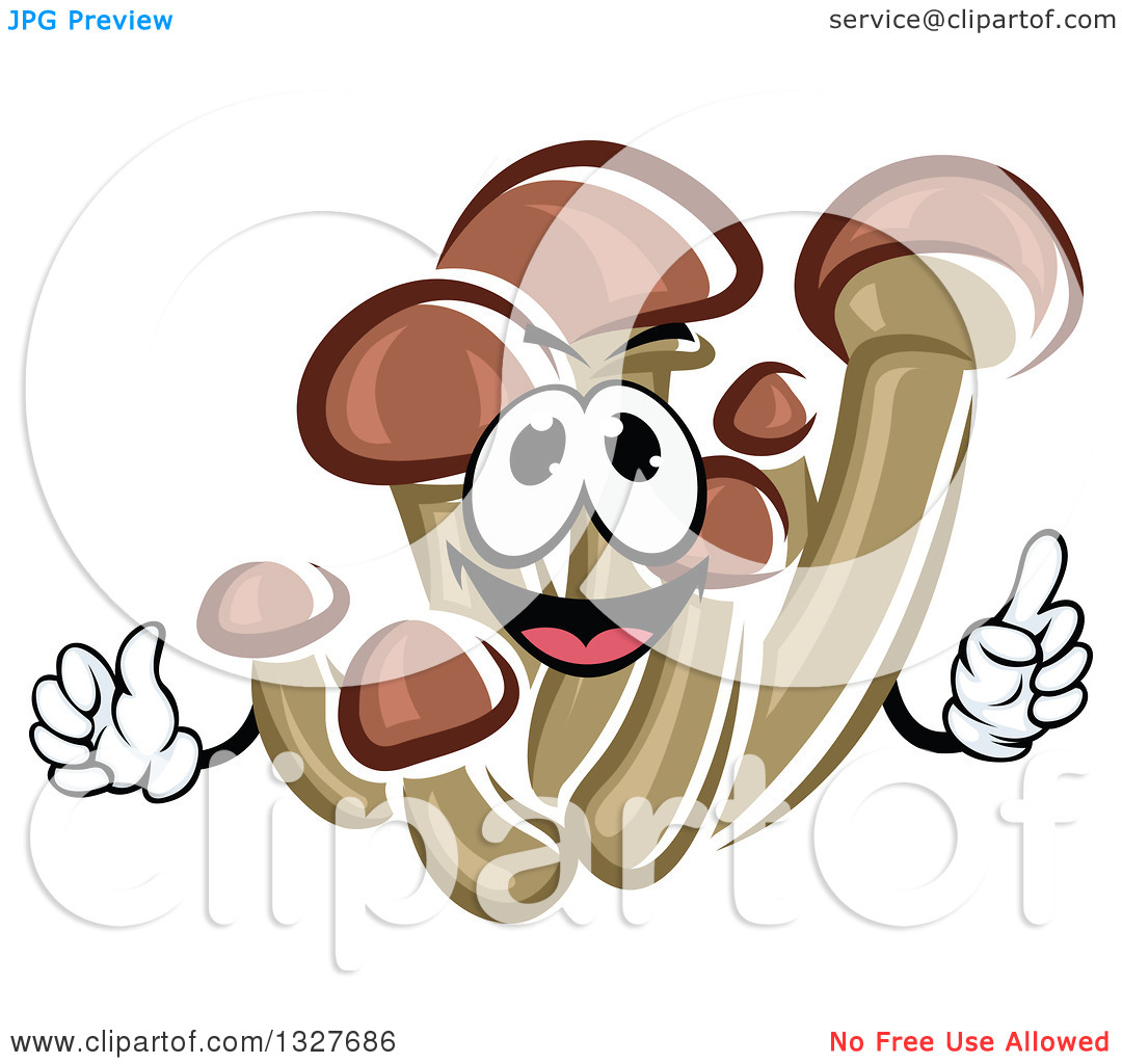 Clipart of a Cartoon Honey Agaric Mushroom Character Holding up a.