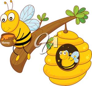 Art Illustration of a Bee Holding Honey.