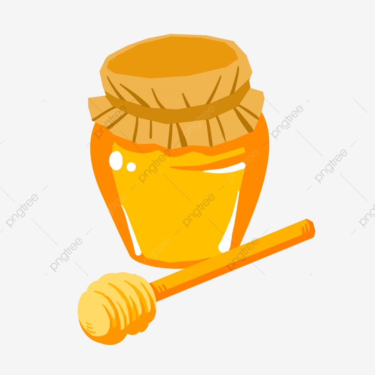 Honey Jar Jar Yellow Jar Yellow Honey, Yellow Spoon, Cartoon Honey.