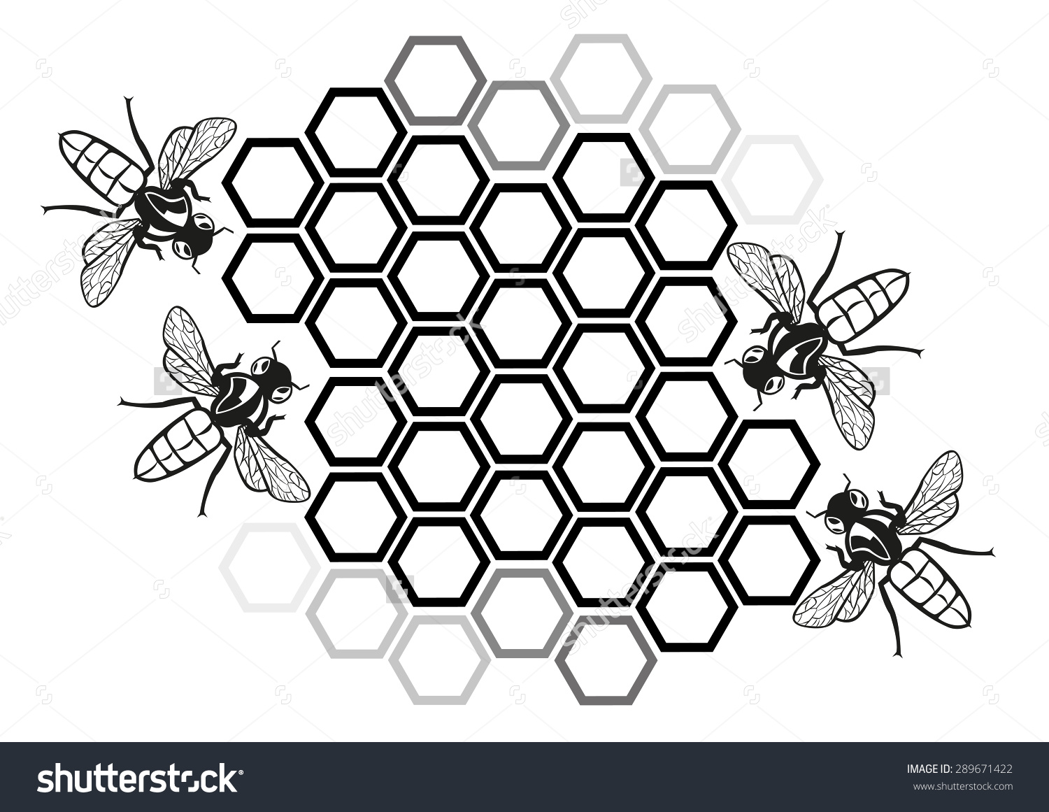 Flat Honey Bee Honeycomb Illustration Silhouette Stock Vektor.