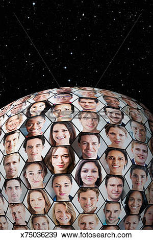 Stock Photograph of Portrait grid on globe in honeycomb formation.