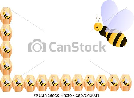 Vector Clip Art of Baby bees frame.