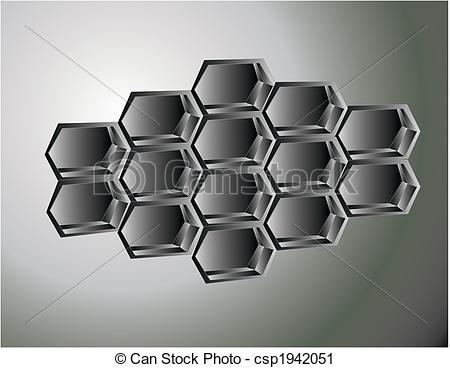 Vector Clip Art of Honeycomb illustration in silver.