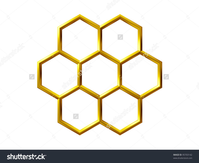 Golden Honeycomb Structure Stock Illustration 95703142.