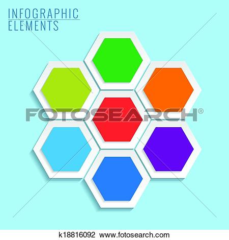 Clipart of Infographic with honeycomb structure on the blue.
