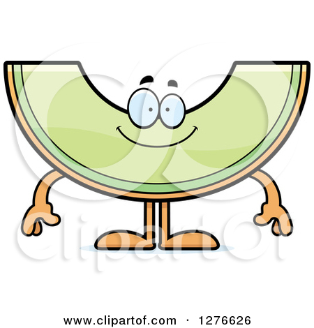 Clipart of a Happy Honeydew Melon Character.