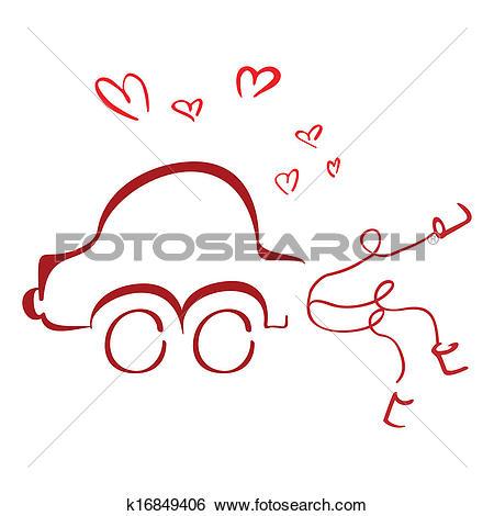 Clip Art of Honeymoon car k16849406.