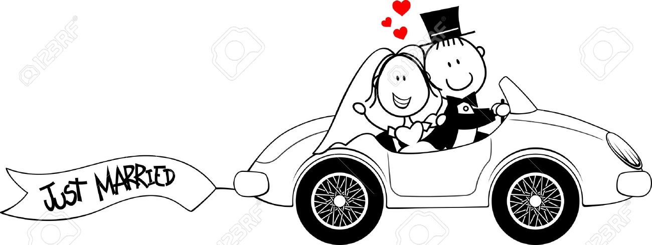 Bride And Groom On Car Isolated On White Background Royalty Free.