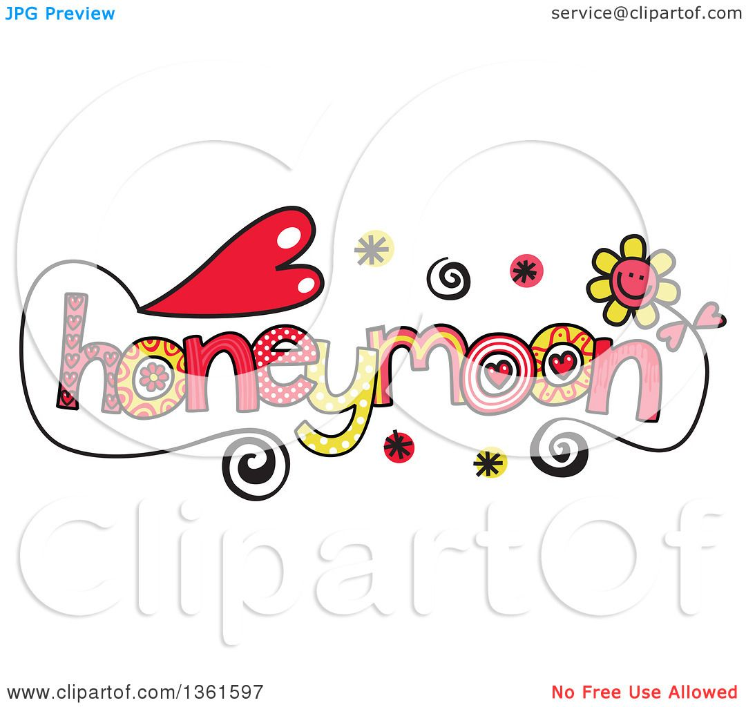 Clipart of Colorful Sketched Honeymoon Word Art.
