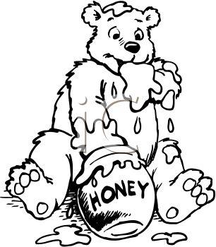 Cartoon of a Bear Digging Honey Out of a Honeypot.