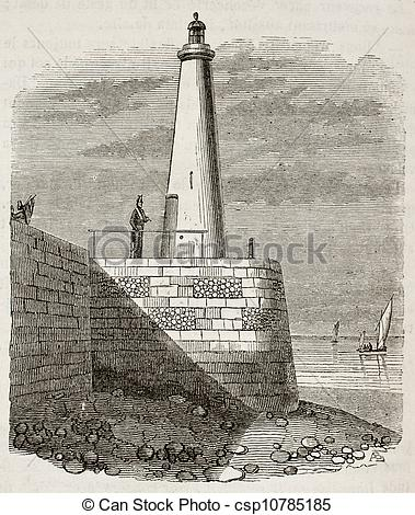 Stock Illustration of Honfleur lighthouse old view, Normandy.