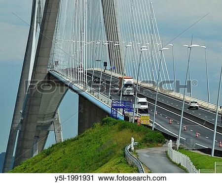 Stock Photography of Pont de Normandie (Bridge of Normandy) : a.