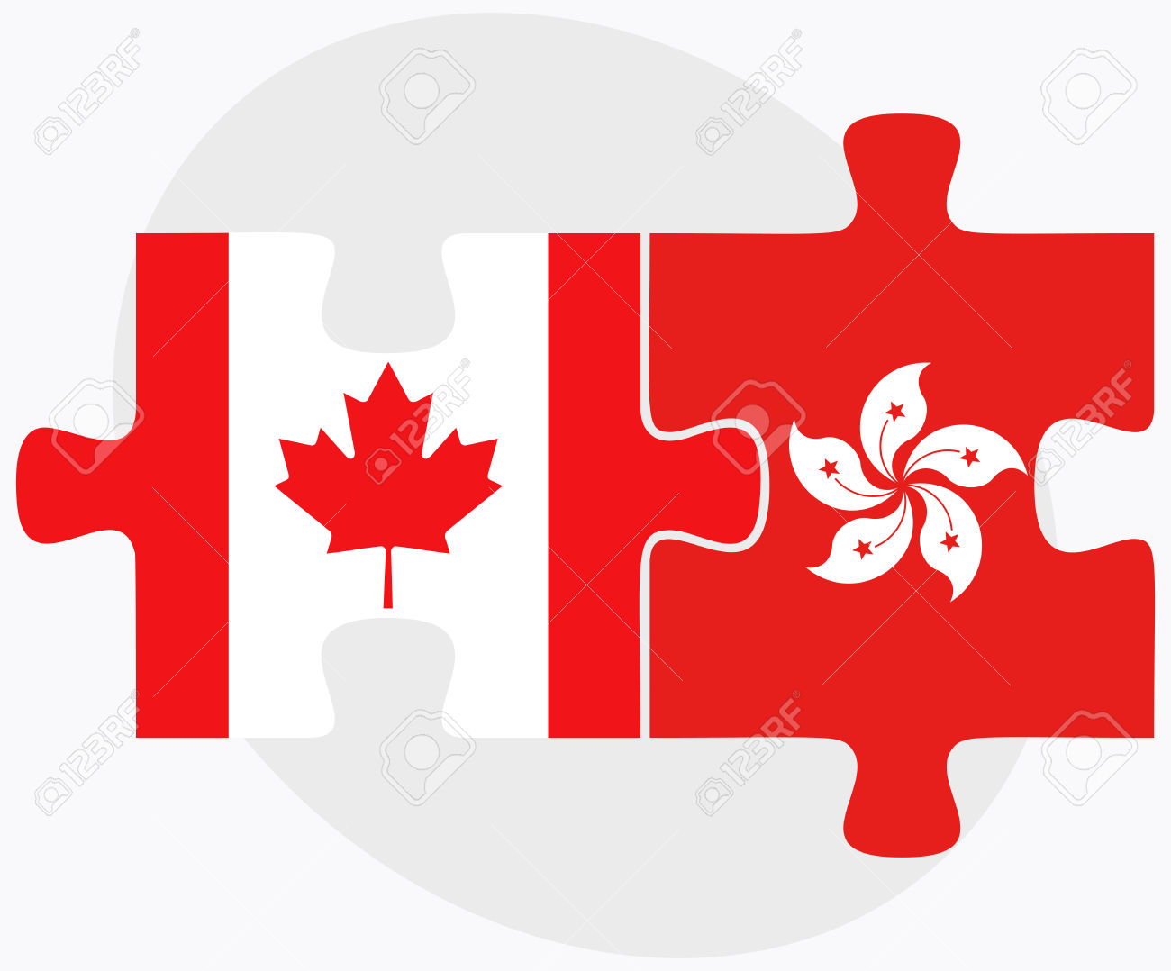 Canada And Hong Kong SAR China Flags In Puzzle Isolated On White.