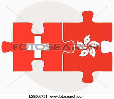 Clipart of Switzerland and Hong Kong SAR China k29566751.