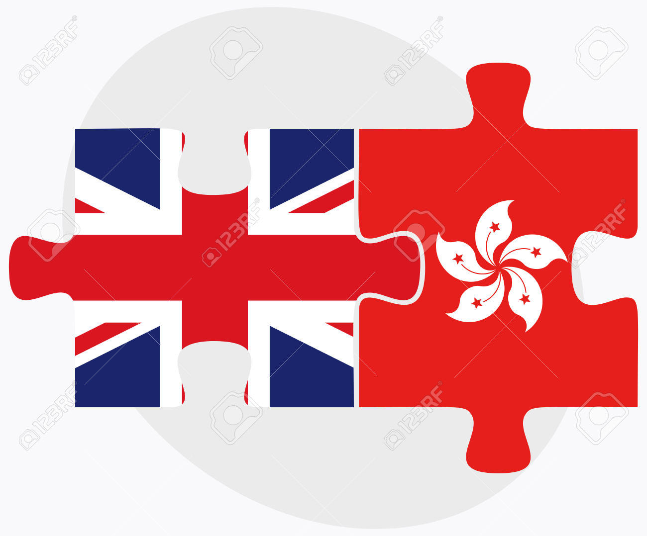 United Kingdom And Hong Kong SAR China Flags In Puzzle Isolated.