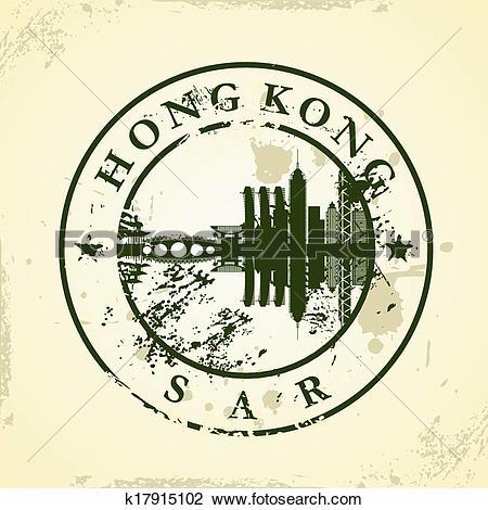 Clipart of stamp with Hong Kong, SAR k17915102.