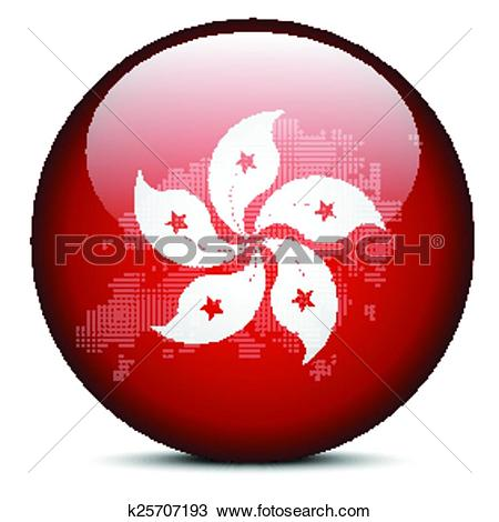 Clipart of Map with Dot Pattern on flag button of Hong Kong SAR.