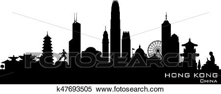 Hong Kong China city skyline vector silhouette Clipart.