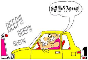Honking car horn clipart.