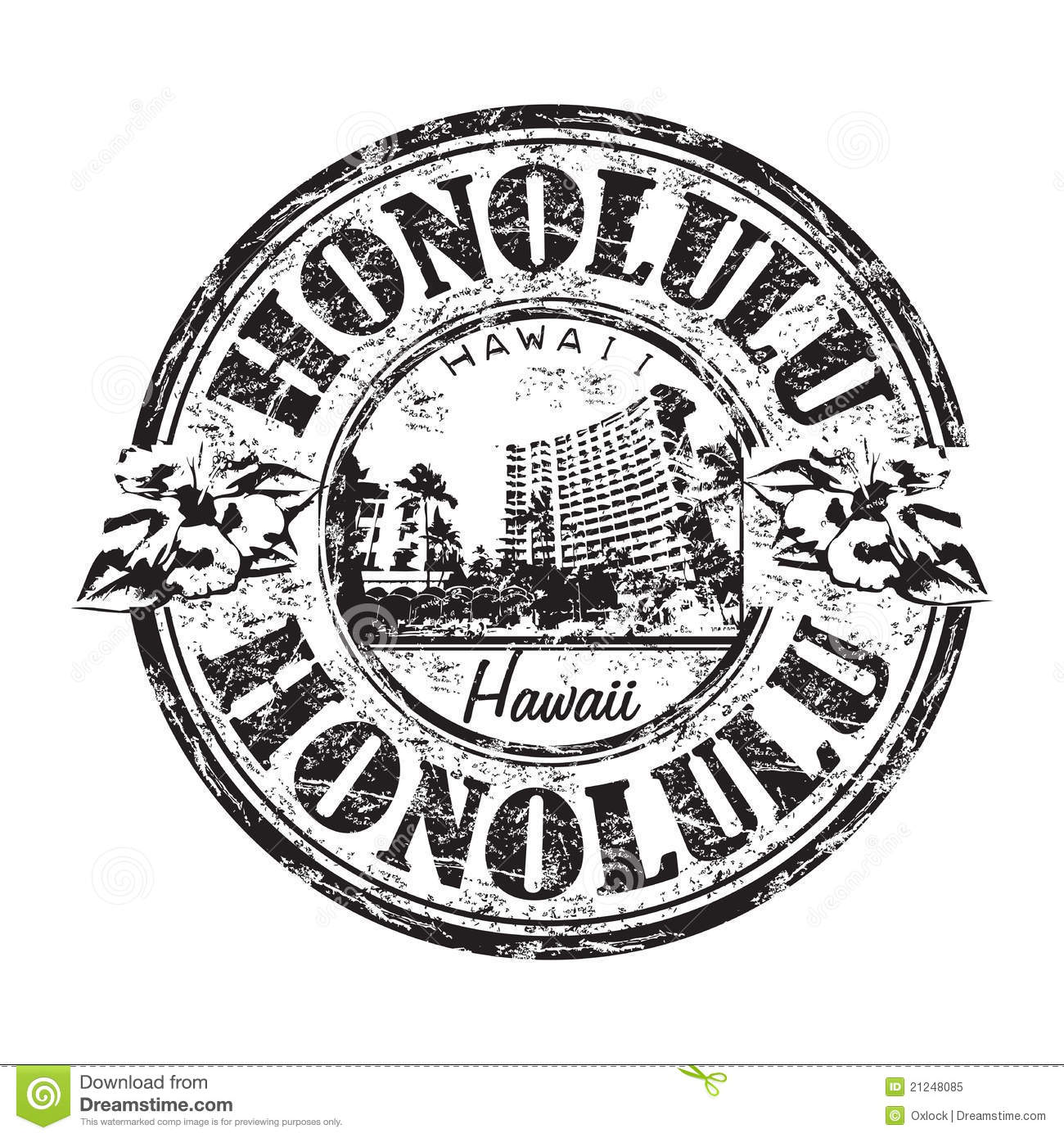 Honolulu Grunge Rubber Stamp Royalty Free Stock Photo.