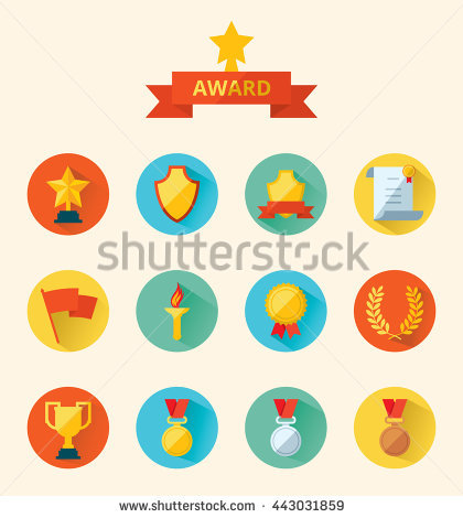 Trophy Awards Flat Design Style Stock Vector 158059001.