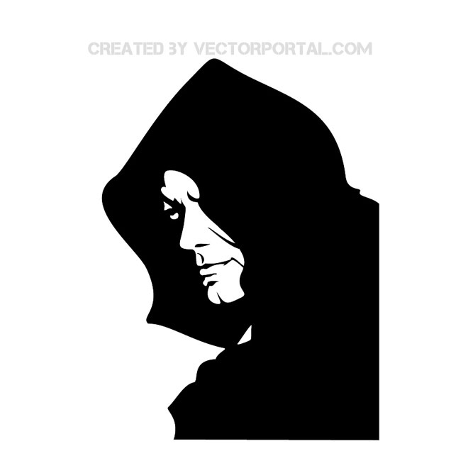 Silhouette of hooded person clipart.