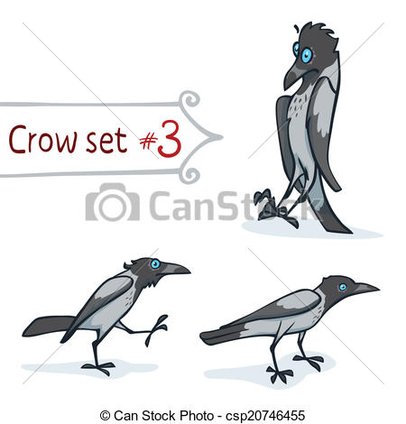 Clipart Vector of Hooded Crow Set.