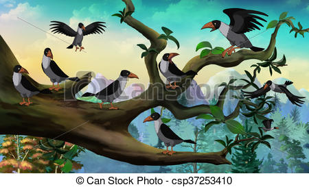 Clipart of Flock of Crows Sitting on a Tree.