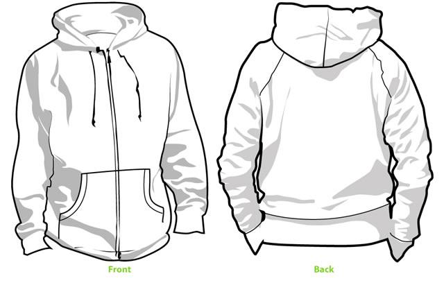 Grey hoodie back clipart.