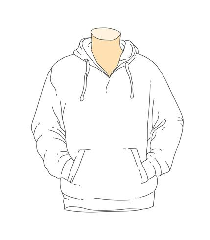 blank white outline hooded sweatshirt template.
