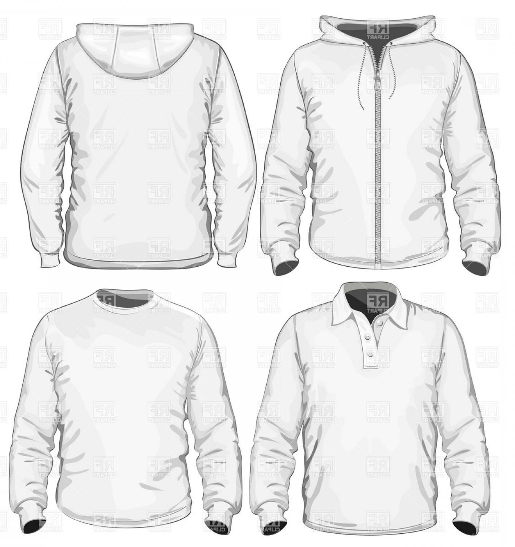 Mans Sweatshirt Jacket And Hoodie Vector Clipart.