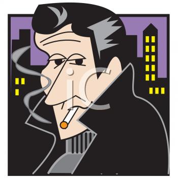 Cartoon Hoodlum Smoking a Cigarette.