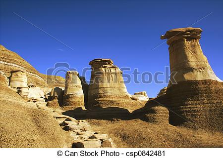 Stock Photography of Hoodoos, Alberta.