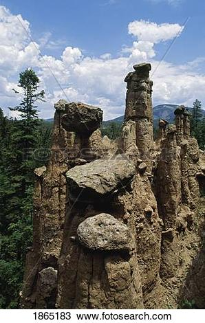 Stock Photo of Hoodoos (caprock erosion columns), Redondo Peak.