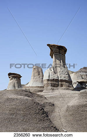 Stock Photography of Hoodoos In Drumheller Formed Between 70 To 75.