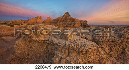 Stock Photograph of Twilight over the hoodoos and rock formations.
