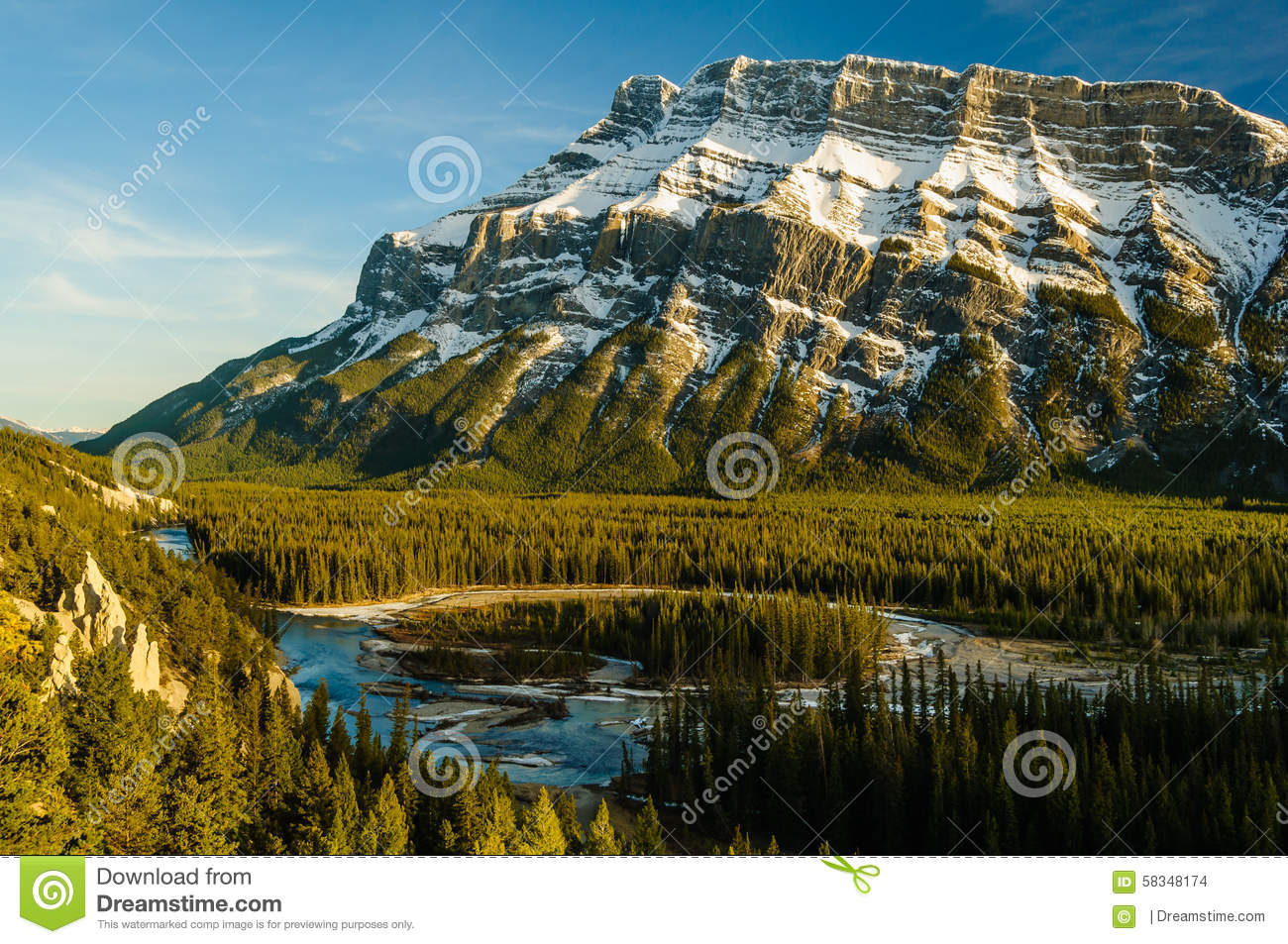 Hoodoos Banff Rundle Mountain Bow River Sunset Stock Photo.