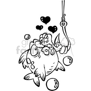 black and white cartoon fish with worm on a hook clipart. Royalty.