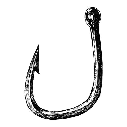 Hand drawn fish hook isolated.