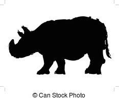 Vectors Illustration of Black Rhinoceros or hook.