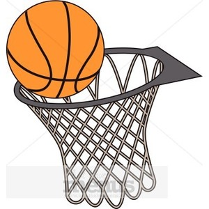 Basketball going into hoop clipart.