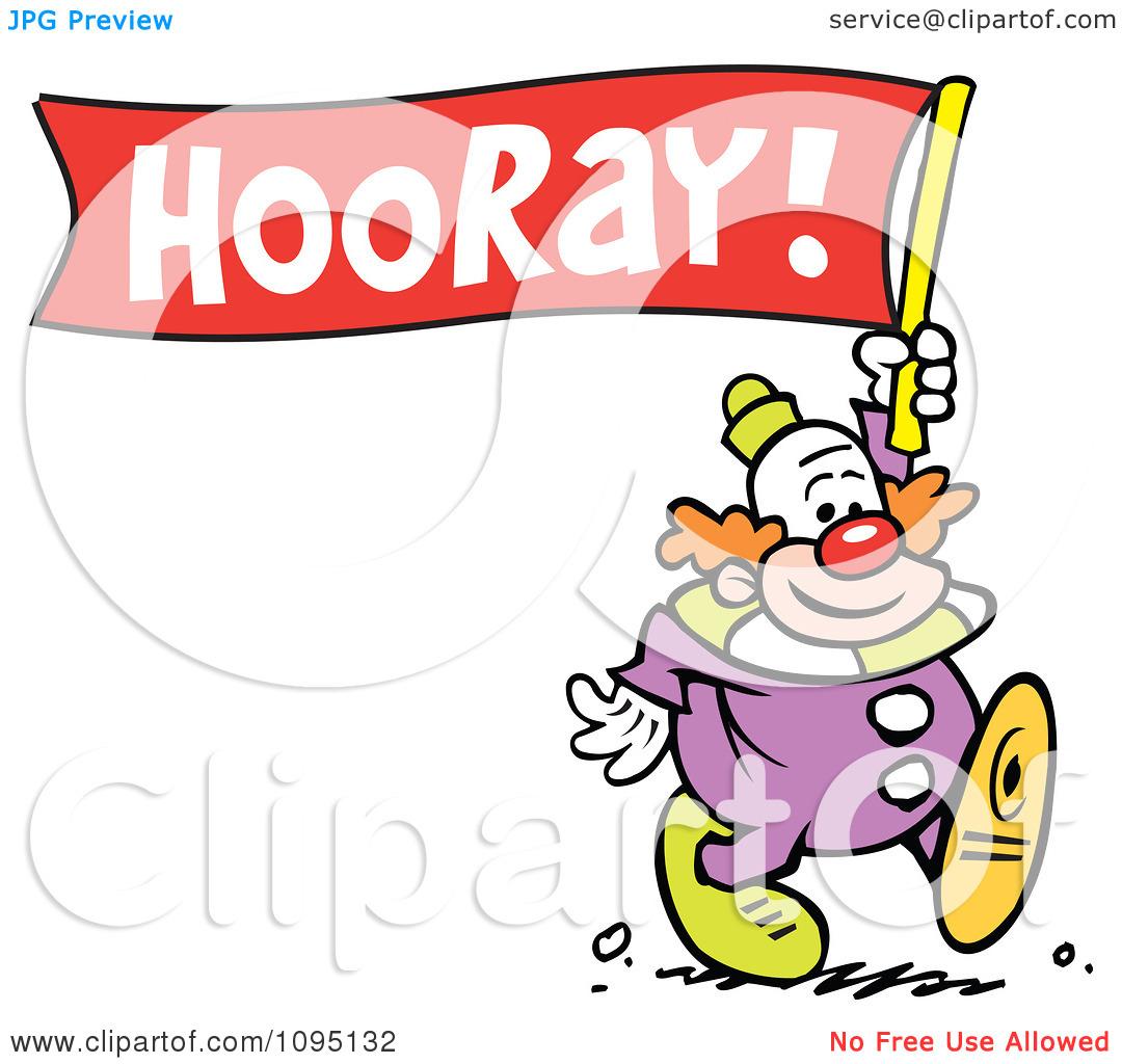 Clipart Clown Carrying A Hooray Banner.