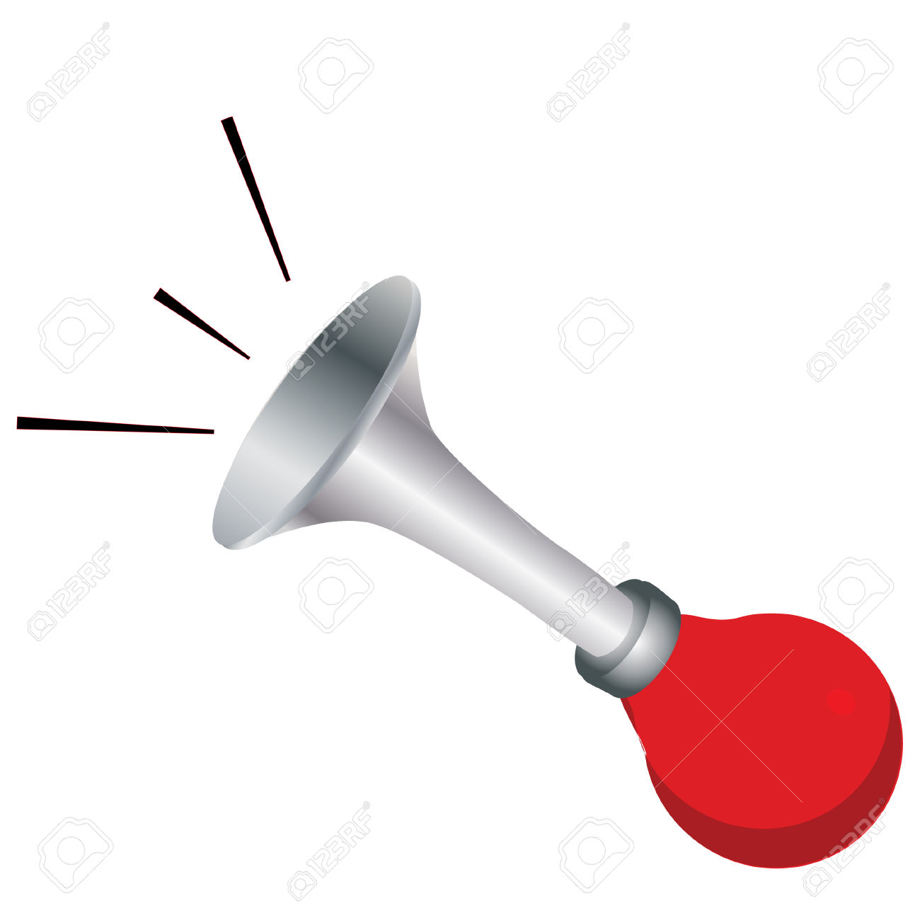 Red Klaxon, Klaxon Vector, Horn, Isolated On White, Buzzer, Hooter.