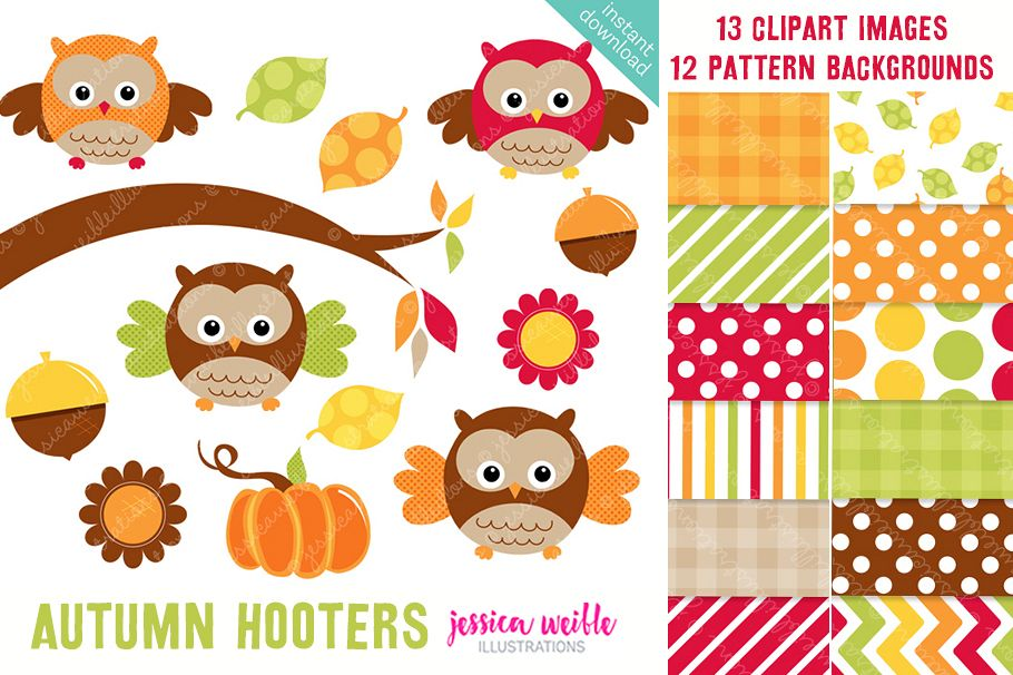 Autumn Hooters Clipart Graphics Collection.