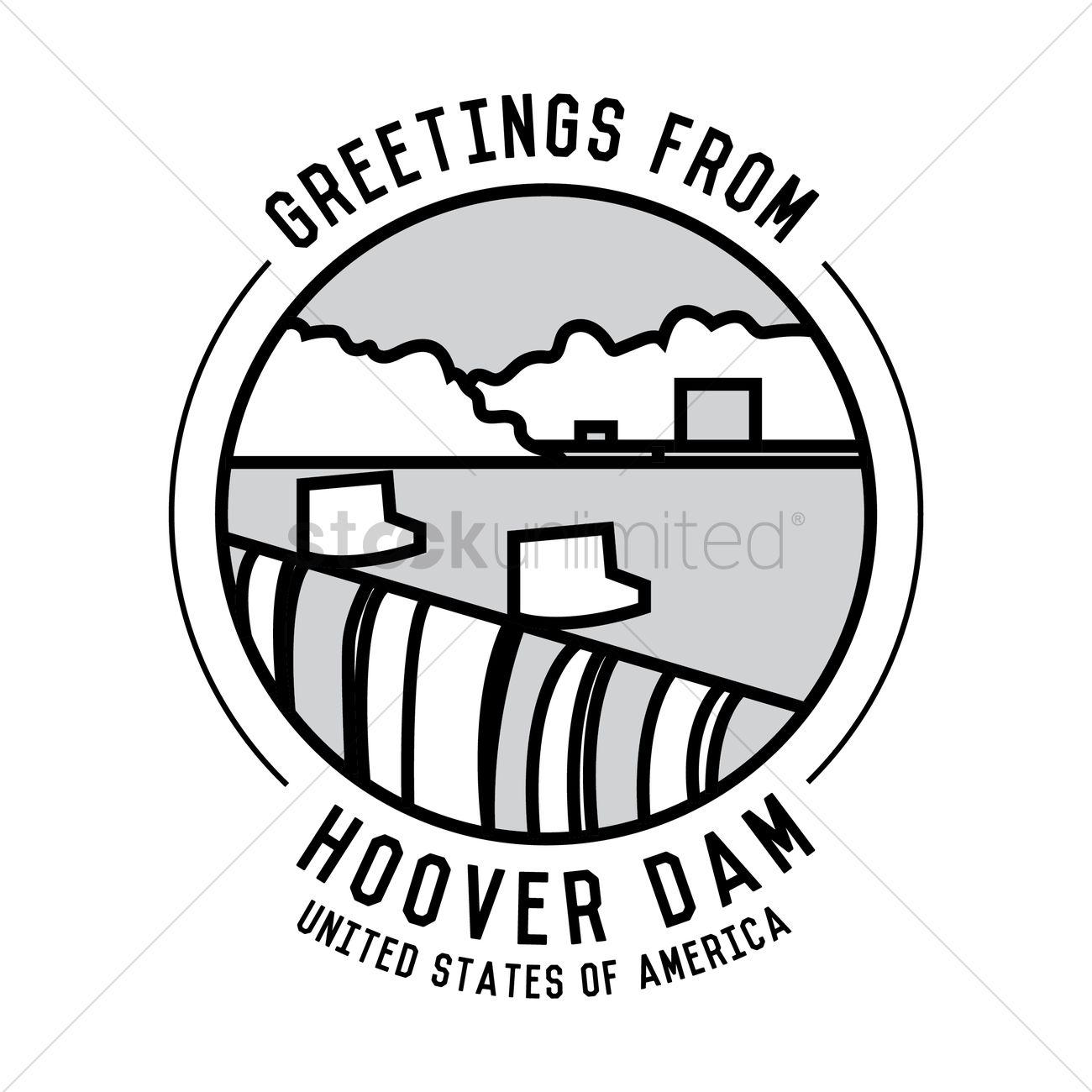 Hoover dam Vector Image.
