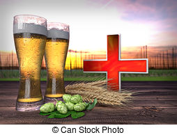 Stock Illustration of glass of beer with hop.