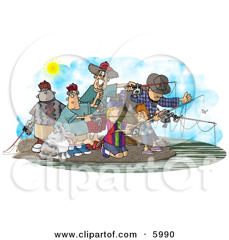 Family and Friends Fishing Together at a Lake Clipart Picture by.