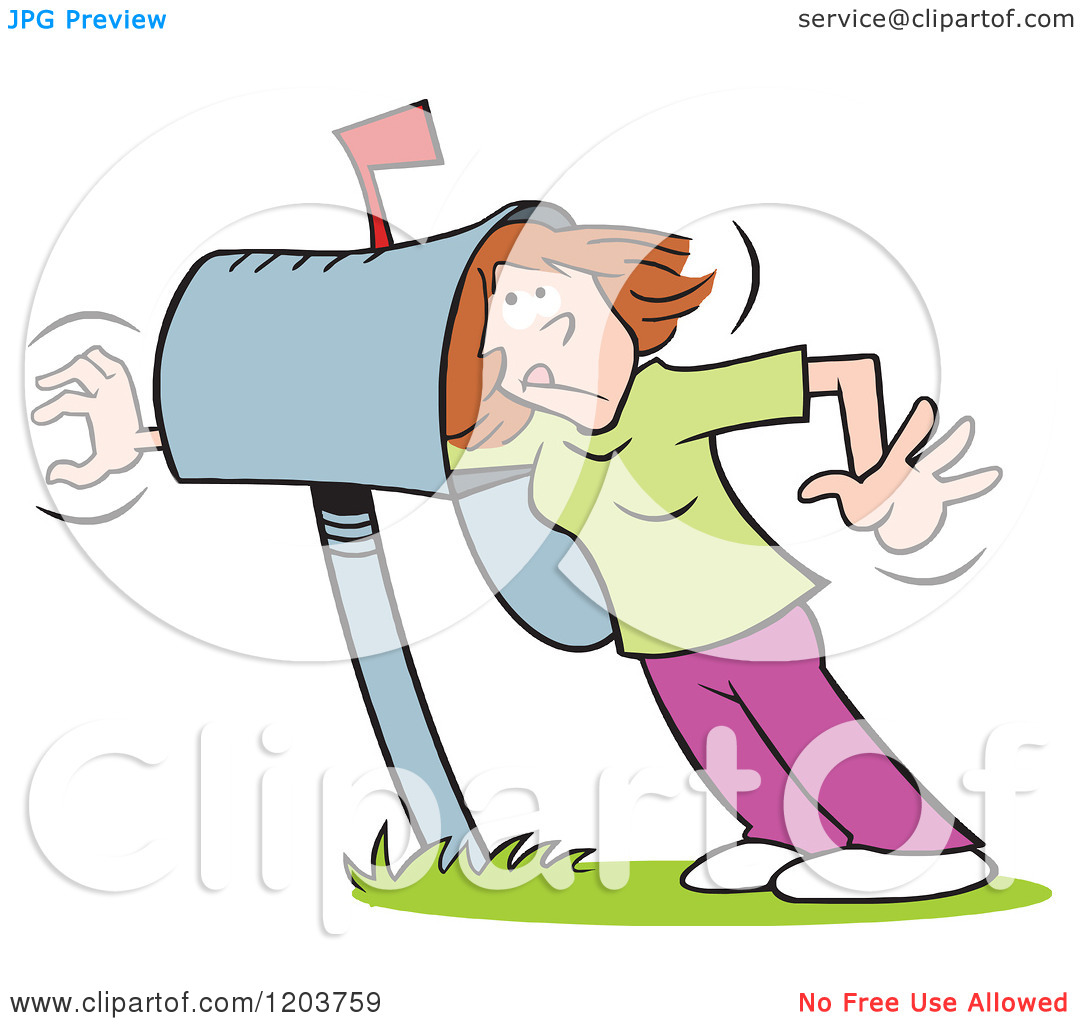 Cartoon of a Caucasian Woman Reaching Beyond Her Mailbox in Hopes.