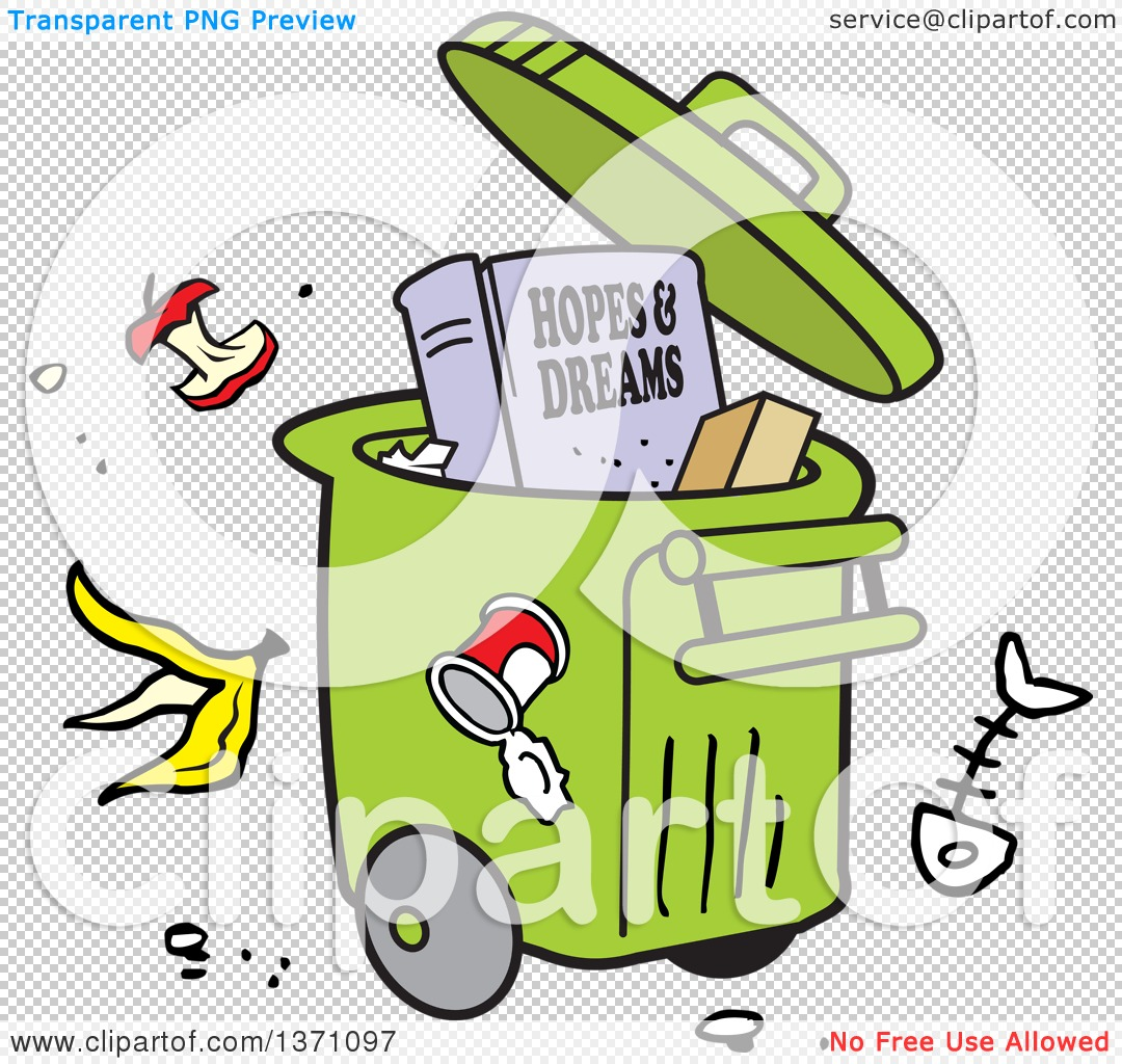 Clipart of a Cartoon Hopes and Dreams Book in a Rolling Trash Bin.